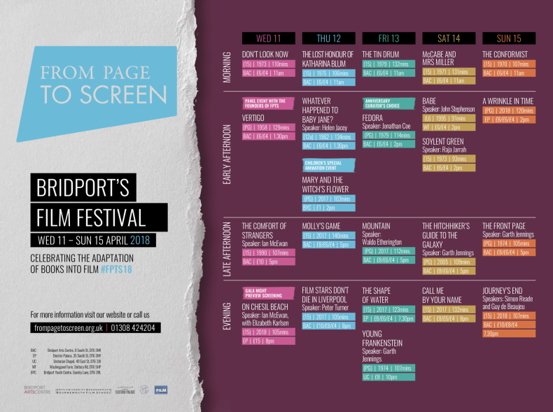 From Page to Screen 2018 Programme Announced